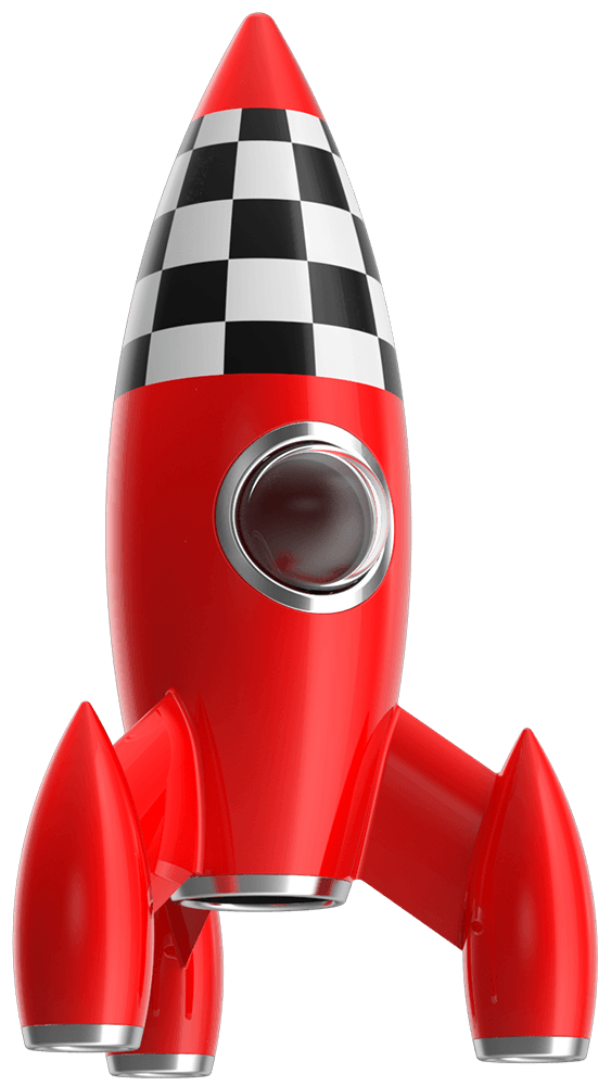 Ready for school red toy rocket